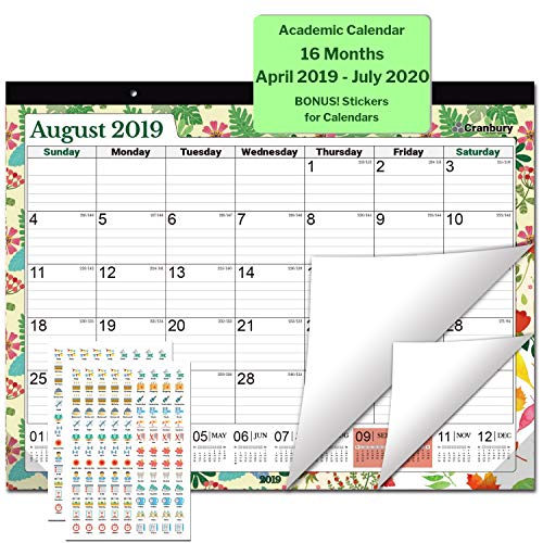 Large Desk Calendar 2019-2020, 17.75 x 13.75 (Seasons) Use Through July 2020, Desktop Academic Calendar 2019-2020, Bonus Stickers for Deskpad Calendars, for School, Home or Office