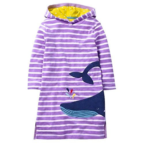 VIKITA 2018 Toddler Girl Dresses Long Sleeve Whale Hoodies for Girls 3-8 Years SMK086 Purple, 8T by VIKITA