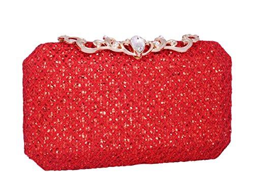 Adoptfade Sac Diamants Décorer avec de Soirée Polir Structure Métallique Rouge à Poudre Rouge rrxTZHwqn