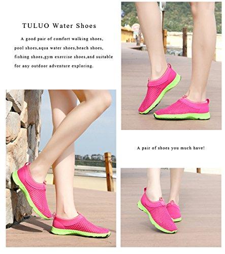 welltree Damen und Herren schnell trocknend atmungsaktiv Mesh leichte Slip auf Aqua Wasser Schuhe 2-Rose rot
