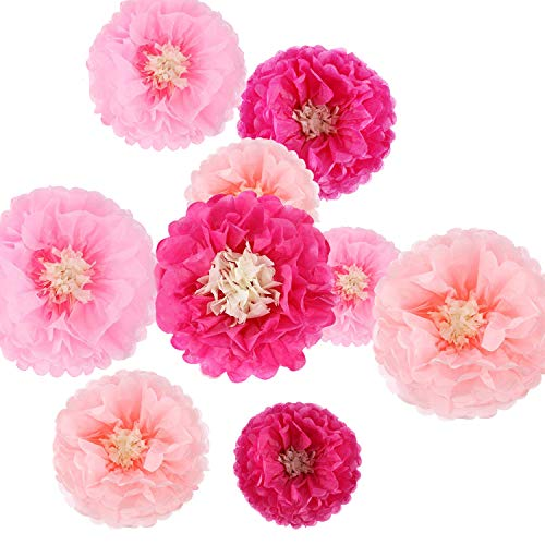 Paper Flowers Tissue Paper Chrysanth Flowers DIY Crafting for Wedding Backdrop Nursery Wall Decoration Pom Poms (9 Pieces)