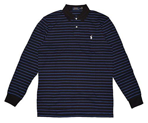 Polo Ralph Lauren Men's Interlock MED-FIT LS Polo Shirt Stripe BLACK / BLUE - True Blues Shirt Stripe