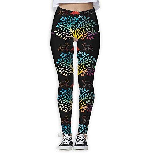 Fox Tree Animal Geometric Women's Yoga Pants Fitness Power Flex Leggings Quick Dry Thin Capris Pants (Triple Straight Tree)