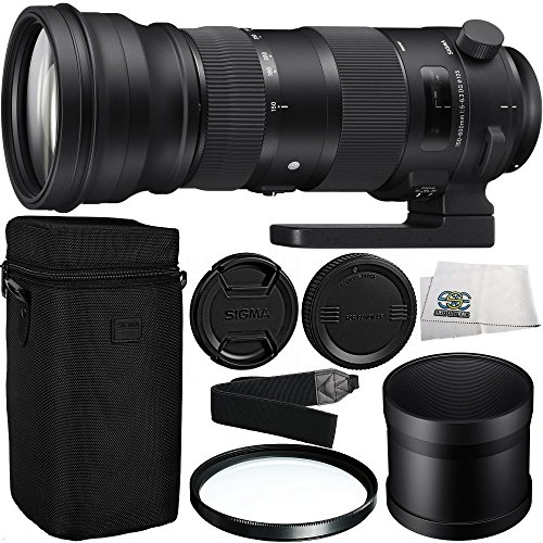 Sigma 150-600mm f/5-6.3 DG OS HSM Sports Lens for Nikon F with 105mm Multi-Coated UV Filter & Microfiber Cleaning Cloth by SSE