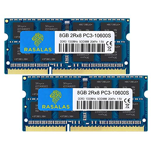 Rasalas DDR3 Ram 16GB Kit (2X8GB) PC3 10600S DDR3 1333 MHZ 1.5V CL9 DDR3 Ram 2RX8 PC3 8GB DDR3 204 Pin DDR3 SODIMM Laptop Notebook Memory Ram Module - Chip Notebook 8 Memory