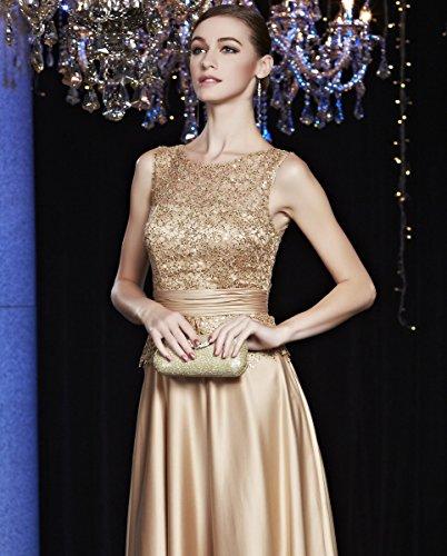 Abendkleider O A Arm Beauty Pailletten Emily Gold Linie Ohne Spitze Ansatz qzzgP