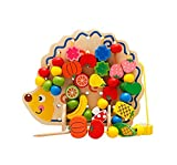6MILES 2016 Newest Design Wooden Animal Fruits and Vegetables Wood Ball Lacing & Stringing Art Craft Beads Toys with Hedgehog Board for Toddlers Kid Children Birthday Gift Set