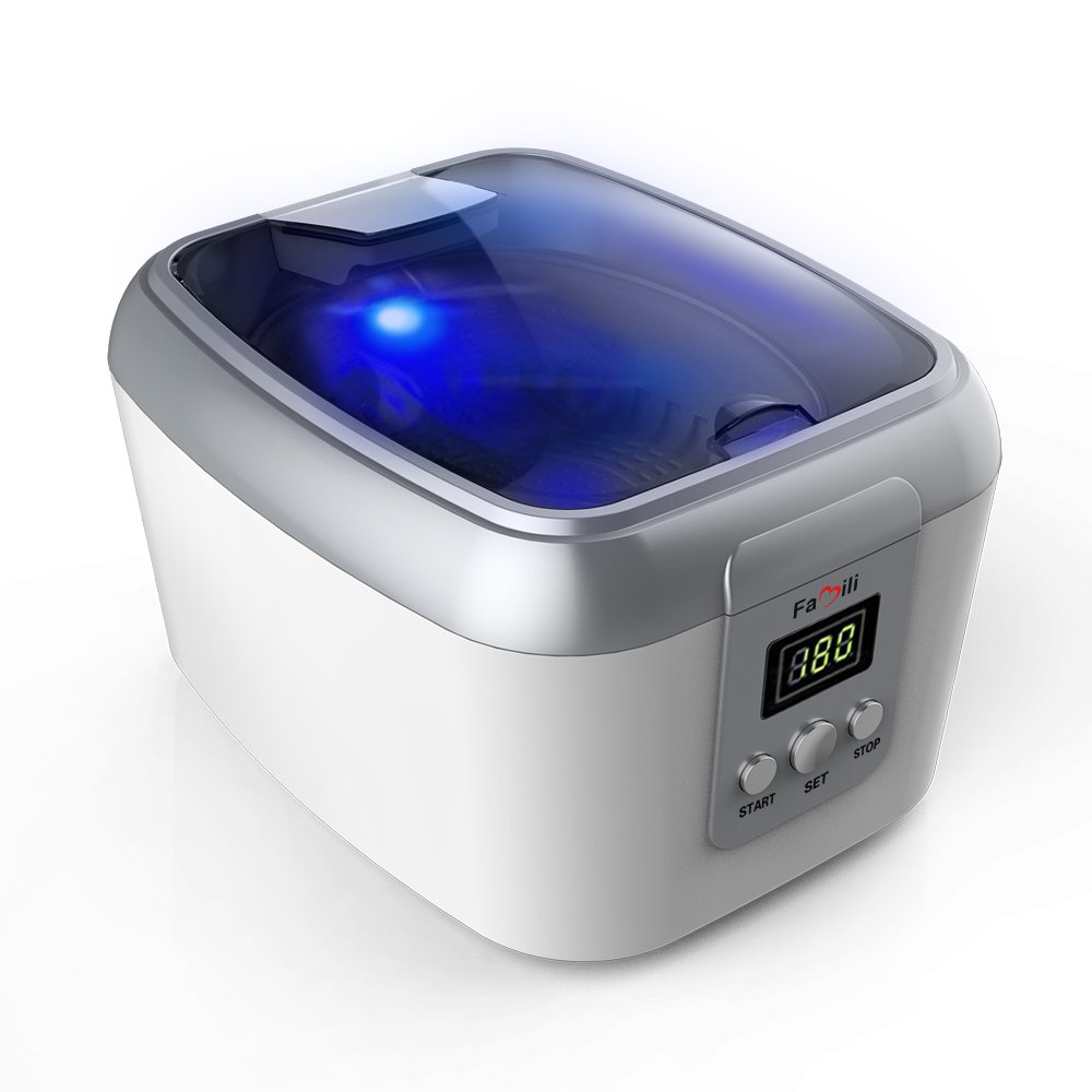 Famili FM8000WW Ultrasonic Polishing Jewelry Cleaner with Digital Timer for Cleaning Eyeglasses Rings, Dentures, Retainers, and Mouth Guards by Famili