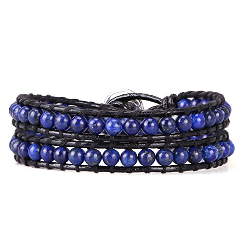 KELITCH Double Wrap Bracelet Women Braided Created-Lapis-Lazuli Beads Bracelets on Black Leather