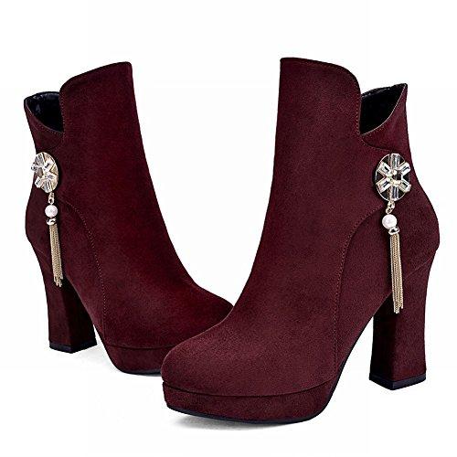 Latasa Womens Fashion Retro Tassels High-heel Platform Ankle-high Dress Boots claret-red U9TjLi