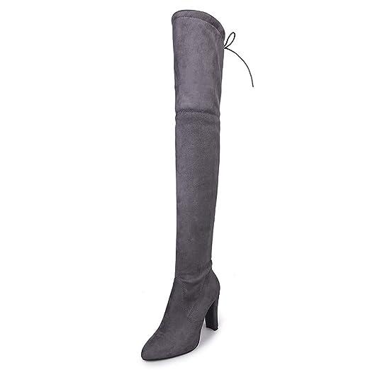 Bestow Botas largas de Mujer con Punta de Cremallera de Cuero Mate Grueso con Botas de tacón Alto Botas Zapatos de tacón Alto: Amazon.es: Ropa y accesorios