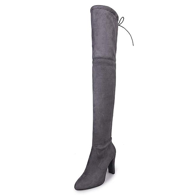 JiaMeng Mujer Invierno Moda Calentar Botas De Nieve Slouchy BBotas Altas Sobre la Rodilla Botas Altas Zapatos De La Rodilla: Amazon.es: Ropa y accesorios