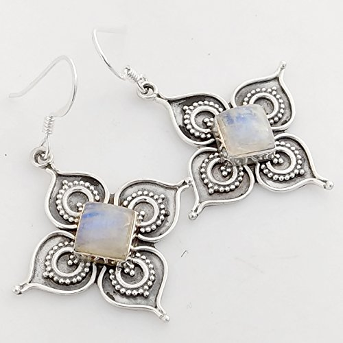 Kanika Jewelry Trove Solid 925 Sterling Silver Filigree Teardrop Earrings Rainbow Moonstone Earrings