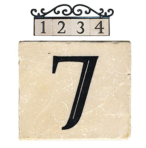 Nach az classic house address number tiles 7 marble for Classic house numbers