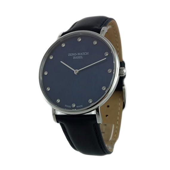 Reloj Suiza Zeno, caja chapado en oro, cristal, zafiro), pulsera cuero