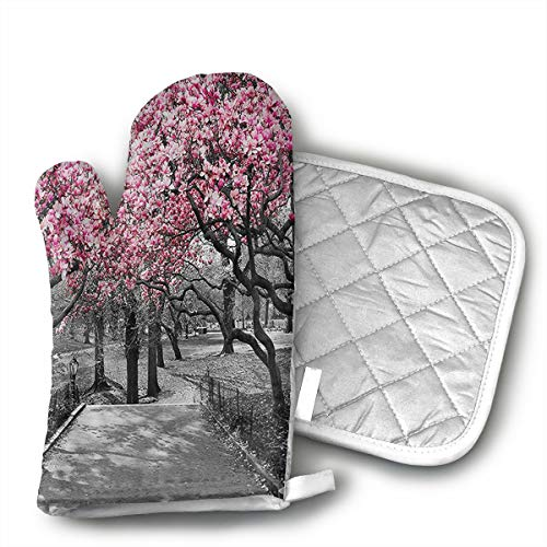 Cherry Fresh Oven Mitt - UFKEOJ Blossoms in Central Park Cherry Bloom Trees Oven Mitts,BBQ Microwave Baking Protective Glove and Hot Pot Heatproof Mat Set,Cotton, Machine Washable