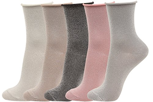 WOWFOOT 5 Pairs Women Glitter Roll Top Socks Ankle High Soft Cotton Sock Girl Full Fashioned Ladies Hosiery (5 pair-Silver (Plus Size Glitter Tights)