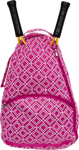 LISH Advantage Tennis Racket Backpack - Women's Geometric Diamond Print Tennis Racquet Holder Bag (Rose)