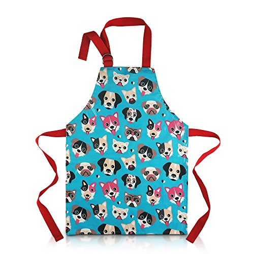 Pvc Coated Aprons (Child Apron For Cooking and Painting - Unique Cute Dog Print in Wipe Clean PVC Coated Cotton for Toddlers Age 4 - 7 (medium, blue))