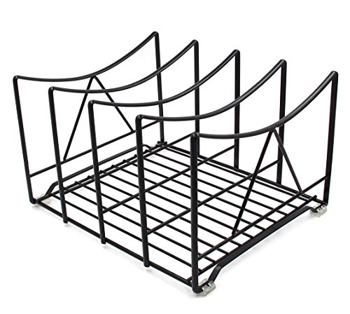 IZLIF Kitchen Houseware Organizer Pantry Rack 7.25 inch High,4 Slot Black