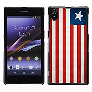 Shell-Star ( National Flag Series-Liberia ) Snap On Hard Protective Case For SONY Xperia Z1 / L39H / C6902 / C6903 / C6906