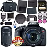 Canon EOS Rebel T7i DSLR Camera with 18-135mm Lens 1894C003 + Sony 128GB SDXC Card + LPE-17 Lithium Ion Battery + Flash + Canon Bag + Card Reader + Memory Card Wallet + Canon EF-S 55-250mm LensBundle
