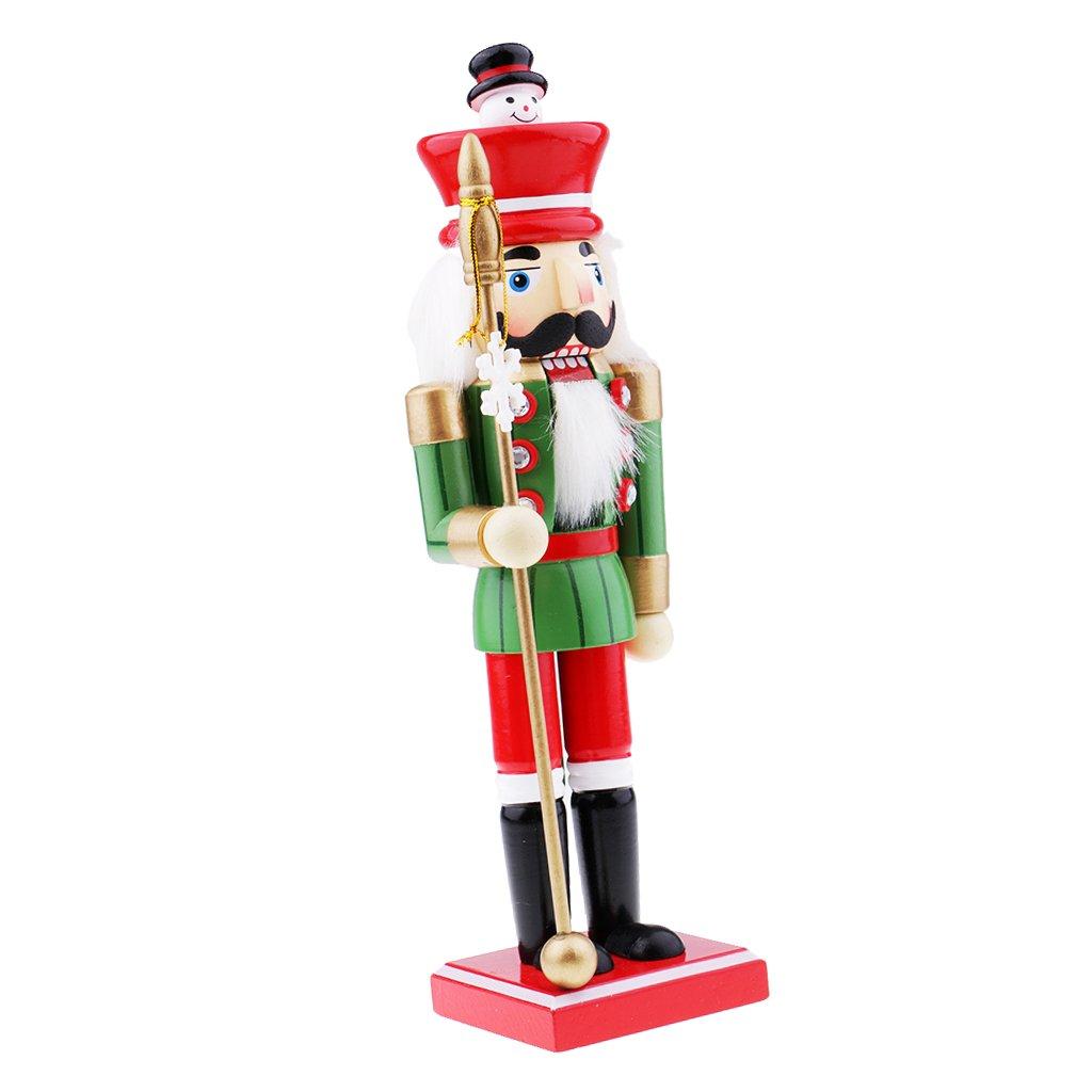 Baoblaze Wooden Nutcracker Ornaments Christmas Snowman Head Decoration Puppet Toy Christmas Gifts Home Decor