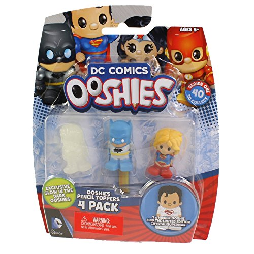 Ooshies DC Comics Pencil Toppers 4 Pack Aquaman, Silver Age Batman, Supergirl And A Mystery Figure (Dispatched From UK) ()