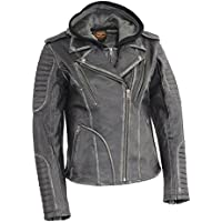 Milwaukee Leather MLL2516-BLK-2X Women's Rub-Off Motorcycle Jacket with Full Hoodie Jacket Liner (Black, XX-Large)