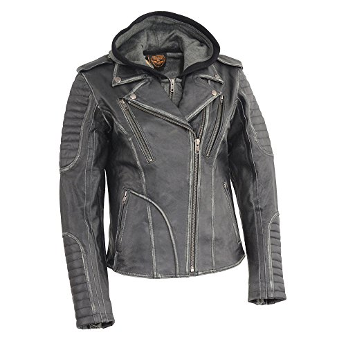 Milwaukee Leather Women's  Rub-Off Motorcycle Jacket with Full Hoodie Jacket Liner (Black, Small) Blk Rub