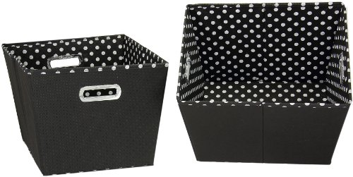 Household Essentials 19KDBLK-1 Medium Tapered Decorative Storage Bins | 2 Pack Set Cubby Baskets | Black and White - Organizer Trunk Cube