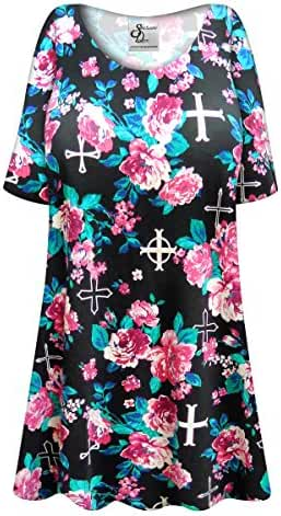 Roses & Crosses Plus Size Supersize Poly/Cotton Extra Long T-Shirt