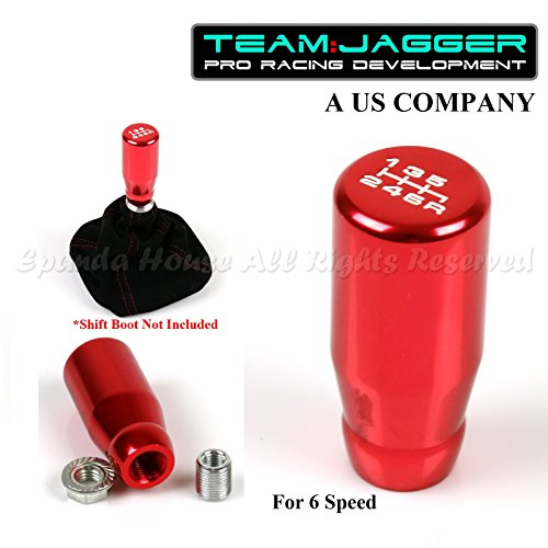Team Jagger Aluminum White 6-Speed Drifting Manual Gear Stick Shift Knob Red M12x1.25 Threaded