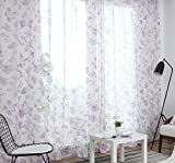 ASide BSide Fashion Style Flowers Printed Sheer Curtains Draperies Rod Pocket Breathable Voile Elegant Home Treatment For Living Room Dining Room and Kids Room (1 Panel, W 52 x L 95 inch, Pink)