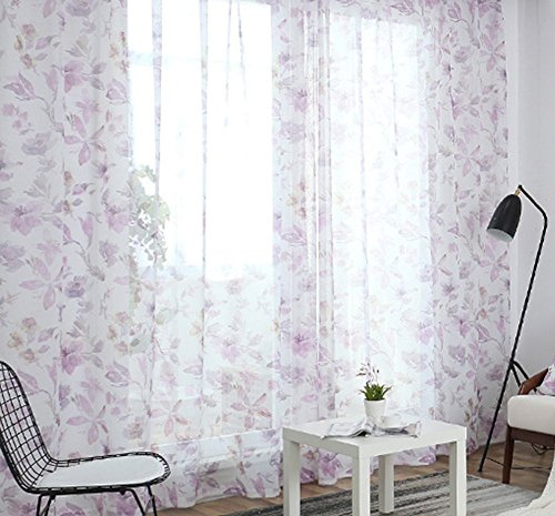 ASide BSide Fashion Style Flowers Printed Sheer Curtains Draperies Rod Pocket Breathable Voile Elegant Home Treatment For Living Room Dining Room and Kids Room (1 Panel, W 52 x L 95 inch, Pink) by ASide BSide