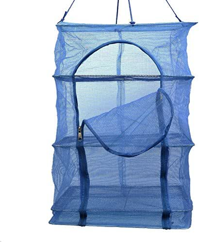 3 Layer Non-toxic Nylon Netting Collapsible Mesh Hanging Drying Dry Rack Net Food Dehydrator Receive Storage Carrying Bag-Blue (35X35cm/13.8X13.8inch)