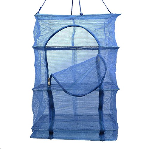 3 Layer Non-toxic Nylon Netting Collapsible Mesh Hanging Drying Dry Rack Net Food Dehydrator Receive Storage Carrying Bag-Blue (40X40cm/15.7X15.7inch) (Dry Net)