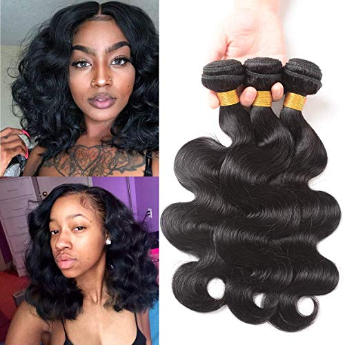 Brazilian Virgin Body Wave 3 Bundles Unprocessed Human Hair Weave Sew In Hair Extensions Natural Black (10 12 14)
