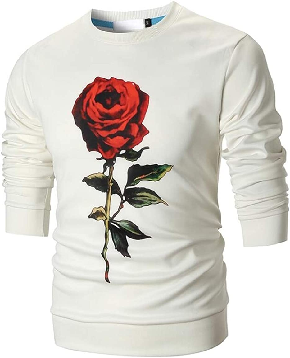 ouxiuli Mens Long Sleeve Rose Print Round Neck Cotton Pullover Sweatshirt
