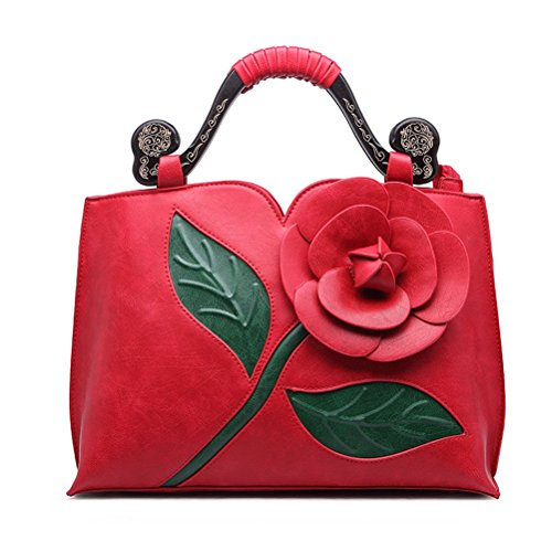 SUNROLAN 6111dahong Women's Top Handle Satchel Handbags Formal Party Wallets Wedding Purses Wristlets Ethnic Totes Evening Clutches by SUNROLAN