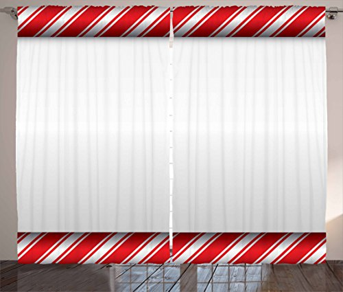 Ambesonne Candy Cane Curtains, Horizontal Borders Frame with