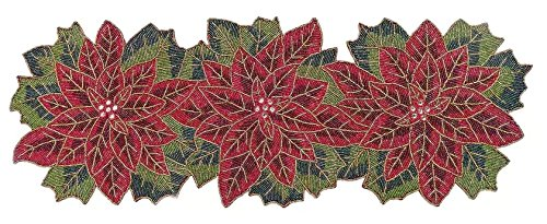 St. Nicholas Square Beaded Poinsettia Table Runner, 36-Inch x 13-Inch ()