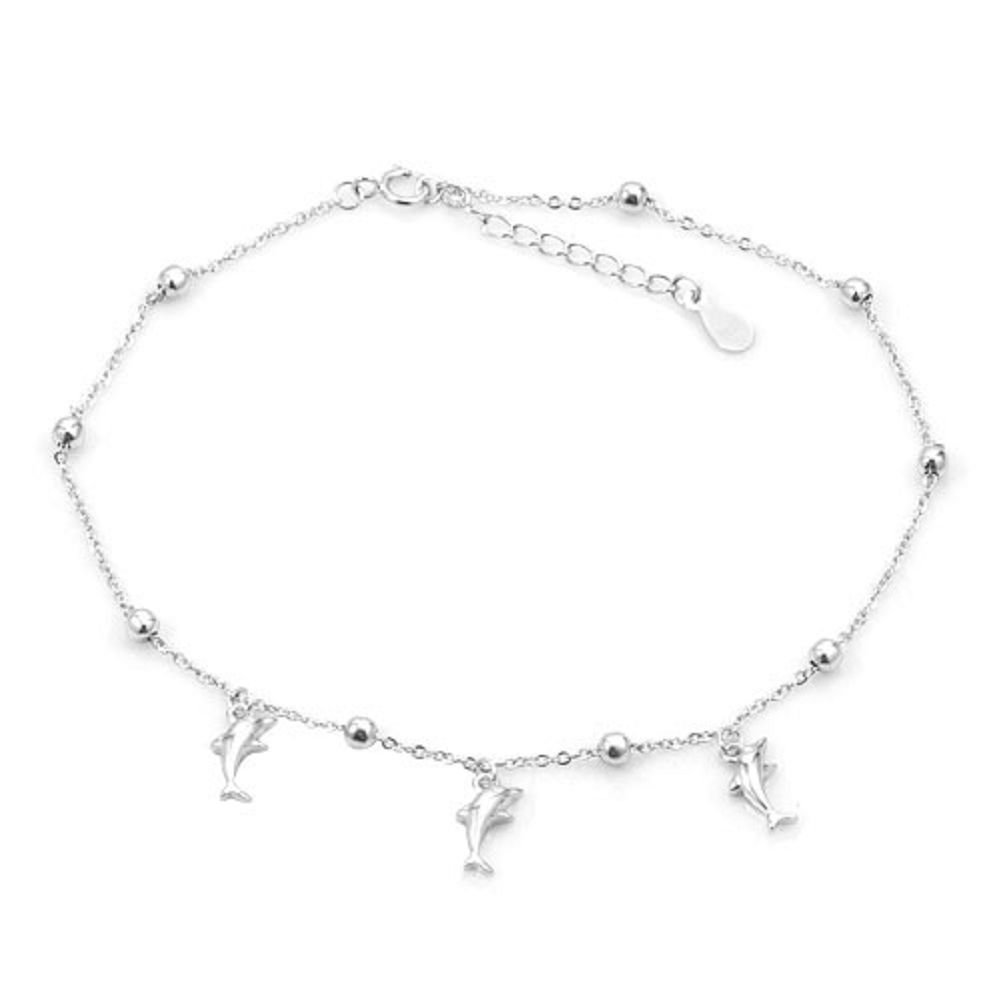 LuckyJewelry Women Finish Sterling Silver Anklet Beach Chain Ankle Bracelet Girls