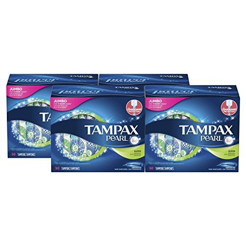 Tampax Pearl Plastic - Tampax Pearl Tampons with Plastic Applicator, Super Absorbency, Unscented, 50 Count-Pack of 4 (200 Count Total)