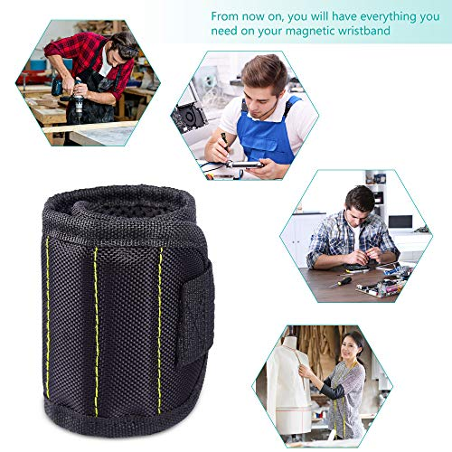 Magnetic Wristband, Fitian Adjustable Tool Wristband with Super Powerful Magnet for Holding Screws Nails Drilling Bits (Black)
