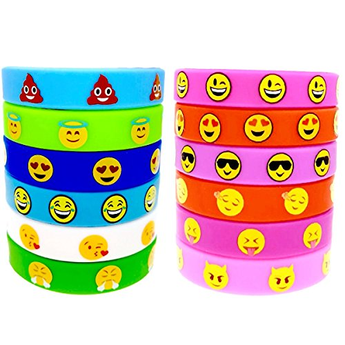 O'Hill 48 Pack Emoji Emoticons Silicone Wristbands Bracelets