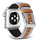 SKYLET Bands for Apple Watch, 42mm Canvas Fabric with Genuine Leather with Metal Clasp for Apple Watch Series 2 Series 1 Series 3 Edition Nike+ (Smart Watch Not Included)[Creamy-White]