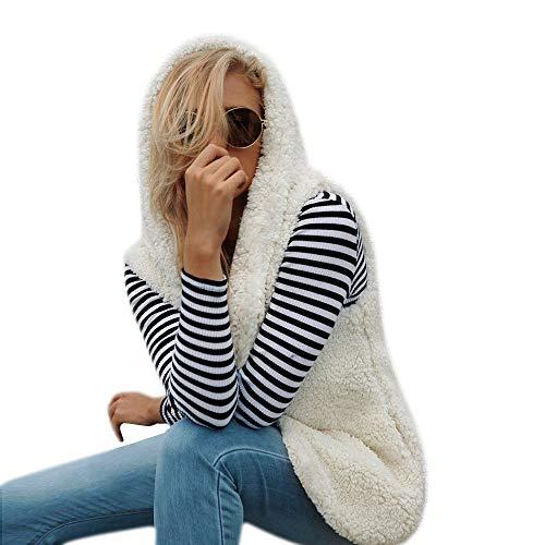 amp; Jackets Coats Homme Manches Manteau Fourrure Vêtement Capuche Chaud Fausse women En Pour Sans Décontracté D'hiver Beige Femme À Épais Gilet Saihui Manteaux Cardigan Vestes Sherpa ZFwExtt