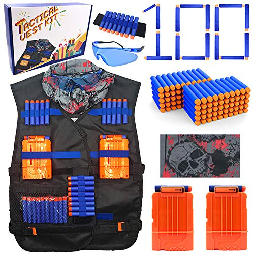 23Toyz Tactical Vest Kit for Nerf Guns N-strike Elite Series, 100pcs Refill Darts, 2pcs Quick Reload Clips, Wrist Bands, Face Mask and Protective Glasses ()