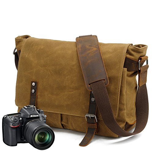 Camera Insert Bag,Waterproof Wax Canvas Mixed with Crazy Horse Leather Retro Men Shoulder & Messenger Carema Bag Fit DSLR SLR For Canon Sony Nikon Canon Olympus And Other Objects Brown